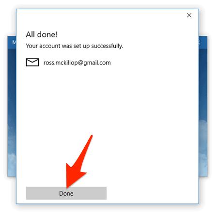 la pantalla de finalización para agregar una nueva cuenta de correo en la aplicación de correo de Windows 10