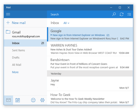 the windows 10 mail app with a gmail account added