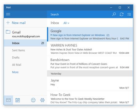 la aplicación de correo de Windows 10 con una cuenta de Gmail agregada