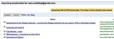 google bookmarks importing firefox bookmarks