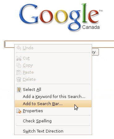 adding google to the firefox search bar
