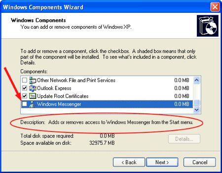 the Windows Components wizard