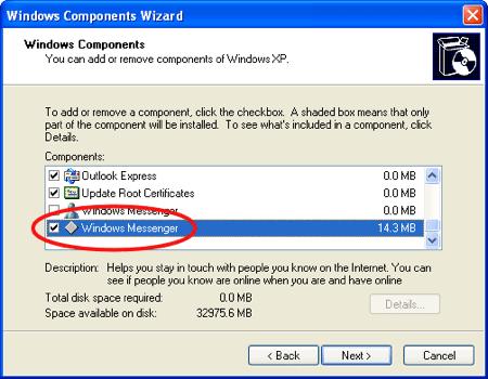 uninstall hidden Windows XP Components