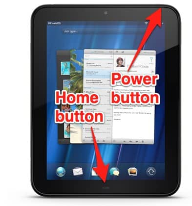 how to take a screenshot of the hp touchpad