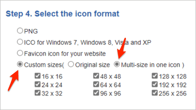 the options for IcoConvert icon sizes