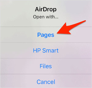an AirDrop confirmation box with an arrow pointing at the Pages button