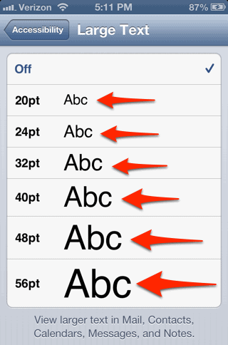 how to change font size on iphone