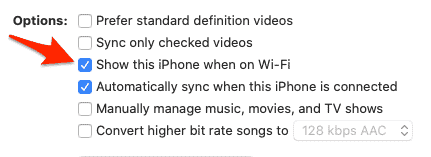 Opciones de sincronización de iPhone para macOS