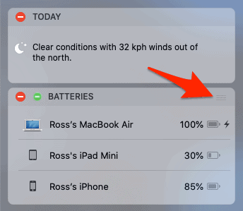 move a widget in the notification center for macos