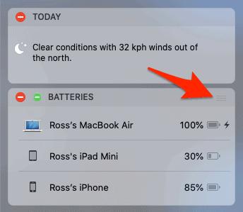 mover un widget en el centro de notificaciones para macos