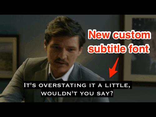 a Netflix screen with custom subtitles