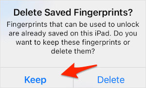 an iOS warning message with Keep and Delete buttons