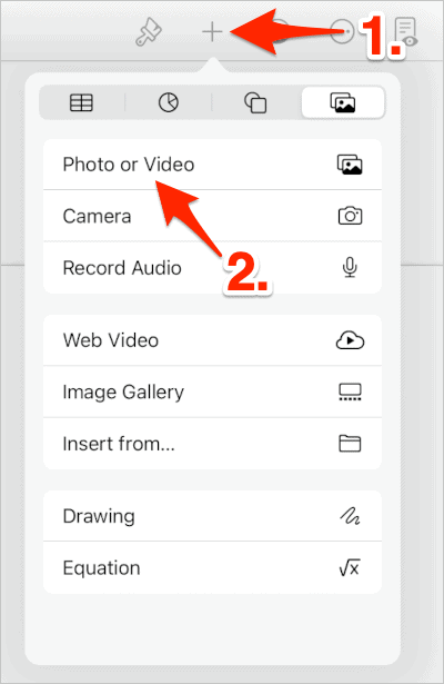 an arrow pointing at the plus sign button in the Pages Toolbar