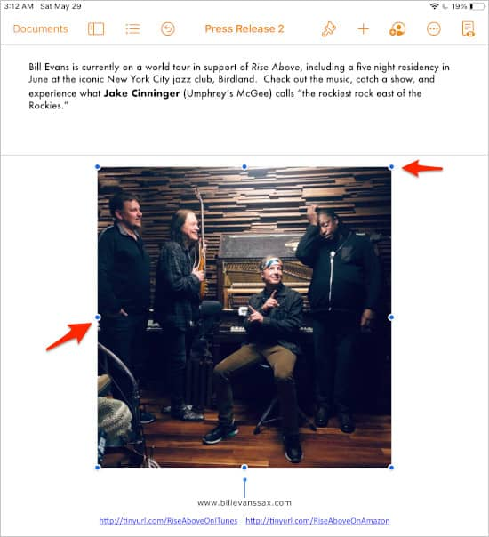 an image inserted into Pages on an iPad