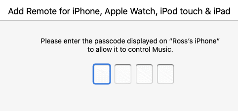 entering a PIN in the Music App