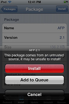 iphone sources screen confirm installing an app
