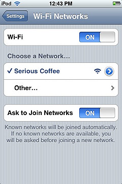 iphone wifi connected screen