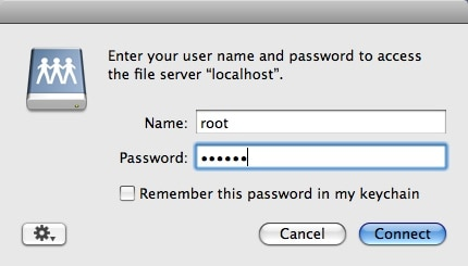 finder connect to server user pass window