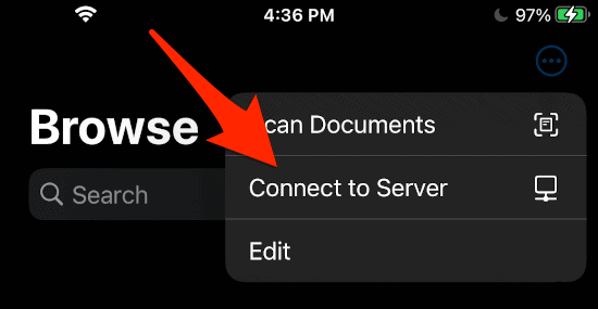 an arrow pointing to a Connect to Server link