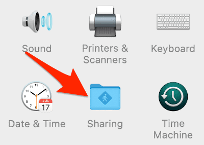 the Sharing icon in the macOS System Preferences