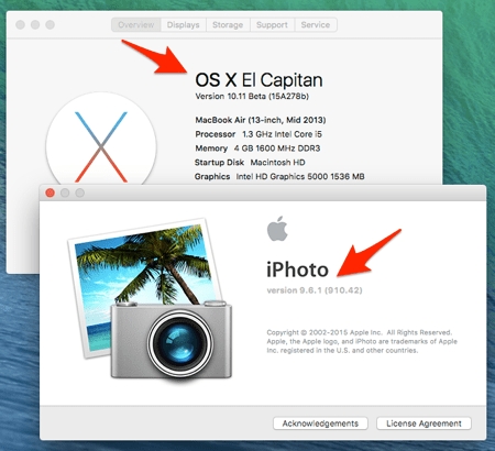 iphoto working in osx El Capitan