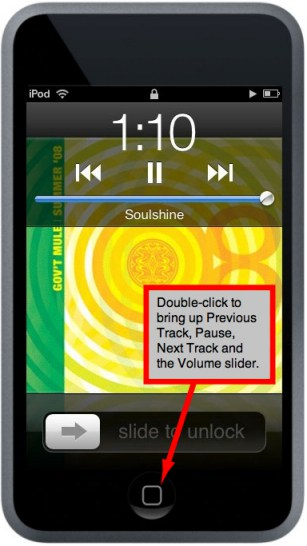 quick music access feature of the ipod touch when locked