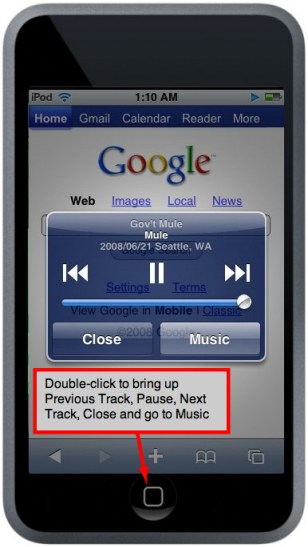 quick music access feature of the ipod touch