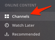 the old Plex navigation panel with Channels highlighted