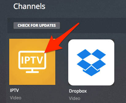 the installed IPTV plugin for Plex