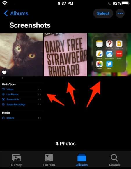 contents of the Screenshots album in iOS