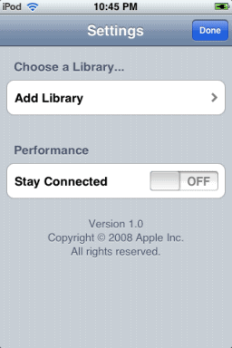 remote options on iphone or ipod touch
