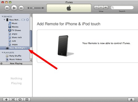 remote setup in itunes
