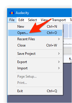 the Audacity File context menu with an arrow pointing to Open