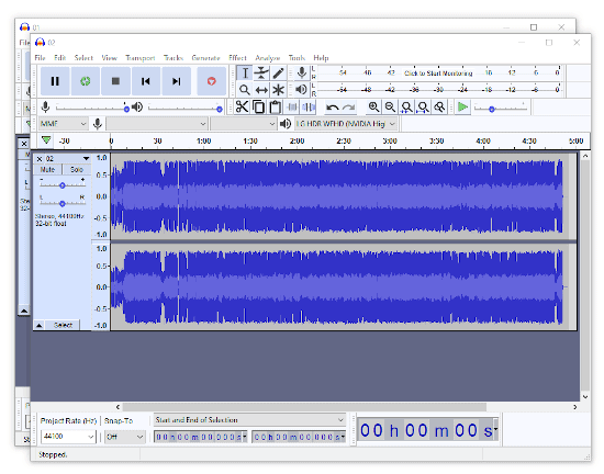 two open Audacity windows