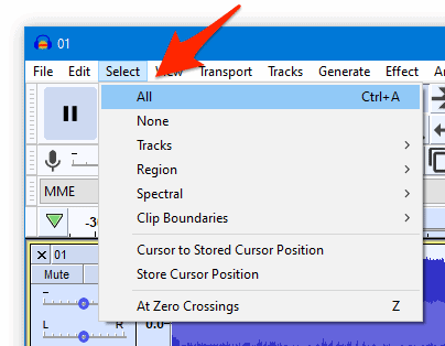 the Audacity Select menu with an arrow pointing to All