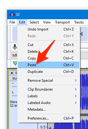The Audacity Edit menu with an arrow pointing to Paste