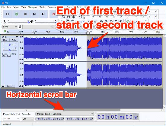 to MP3 files joined together in one Audacity window