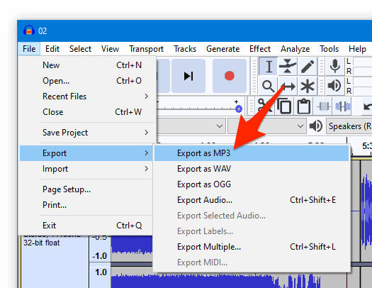 the File menu with an arrow pointing at Export as MP3