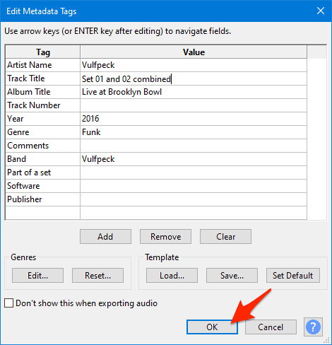 editing the metadata for joined mp3 files