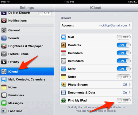iCloud Preferences screen on an iPhone