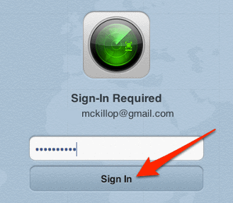 Find My iPhone confirmation sign in window
