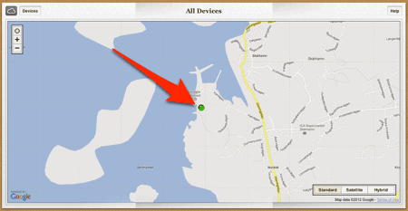 iPhone location map
