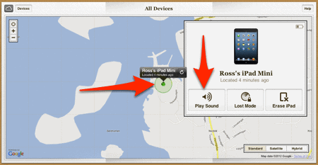 Find My iPhone Map options