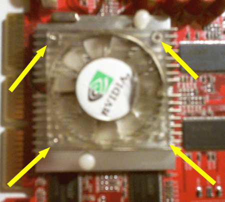a video card with 4 screws holding down a fan