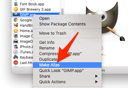 Finder right-click context menu with Make Alias highlighted