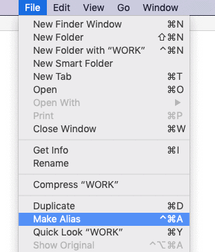 Finder menu bar File context menu with Make Alias highlighted
