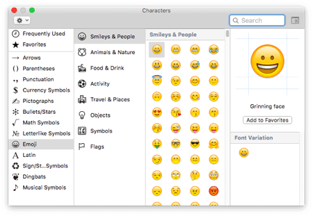 the Emoji Keyboard on a Mac