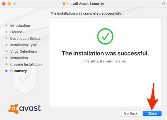 the last installation screen for Avast Security for Mac