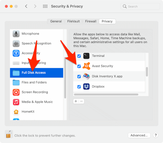 the Privacy section of the macOS Privacy & Security System Preferences