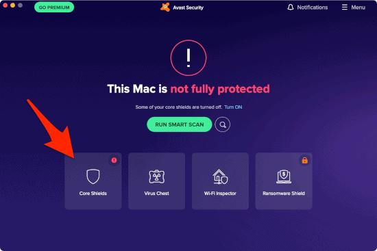 the Avast Security App home screen with one of the Core Shields disabled